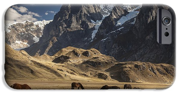 Mountain View iPhone Cases - Horses Grazing Under Siula Grande iPhone Case by Colin Monteath