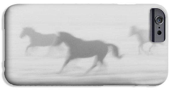 Purebred Digital Art iPhone Cases - Horses Running in the Fog Mist Saskatchewan Canada iPhone Case by Mark Duffy