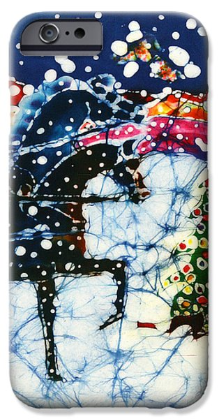 Winter Scene Tapestries - Textiles iPhone Cases - Horses Trot to the Christmas Tree iPhone Case by Carol Law Conklin