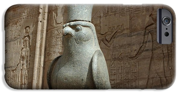 Horus iPhone Cases - Horus the Falcon at Edfu iPhone Case by Bob Christopher