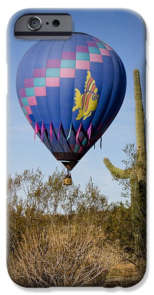 Hot Air Balloon iPhone Cases - Hot Air Balloon Flight over the Lush Arizona Desert iPhone Case by James BO  Insogna