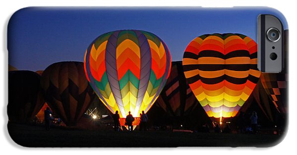 Hot Air Balloon iPhone Cases - Hot Air Balloons at Dusk iPhone Case by Benanne Stiens