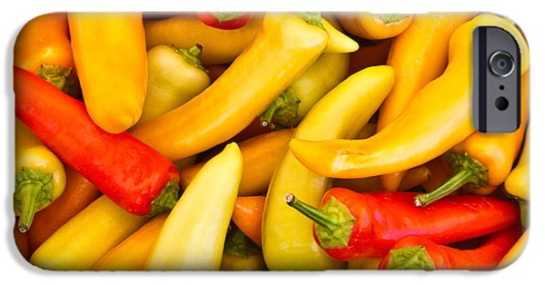 Hot Peppers iPhone Cases - Hot Peppers Red and Yellow iPhone Case by Douglas Barnett