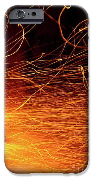 Temperature iPhone Cases - Hot Sparks iPhone Case by Carlos Caetano