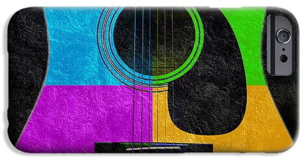 Macro Mixed Media iPhone Cases - Hour Glass Guitar 4 Colors 3 iPhone Case by Andee Design