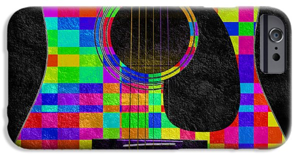 Sound Mixed Media iPhone Cases - Hour Glass Guitar Random Rainbow Squares iPhone Case by Andee Design