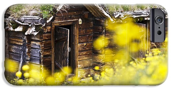 Frame House Photographs iPhone Cases - House behind Yellow Flowers iPhone Case by Heiko Koehrer-Wagner