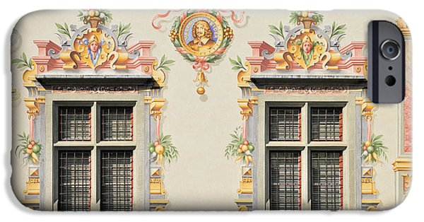 Painted Hall iPhone Cases - House facade Lindau Germany iPhone Case by Matthias Hauser