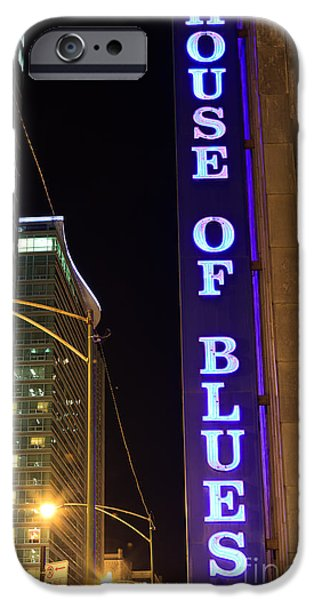 Venue iPhone Cases - House of Blues Sign in Chicago iPhone Case by Paul Velgos