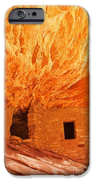 Slickrock iPhone Cases - House on Fire Portrait 1 iPhone Case by Bob and Nancy Kendrick