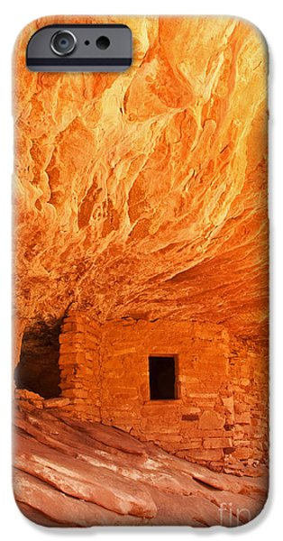 Slickrock iPhone Cases - House on Fire Ruin Portrait 2 iPhone Case by Bob and Nancy Kendrick