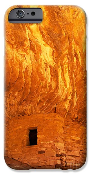 Slickrock iPhone Cases - House on Fire Ruin Portrait 3 iPhone Case by Bob and Nancy Kendrick
