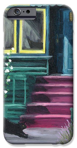 Historic Home iPhone Cases - House with a Blue Door  iPhone Case by Laura Iverson