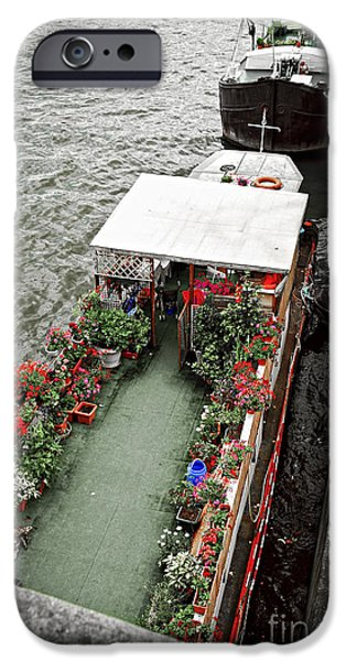 Boathouses iPhone Cases - Houseboats in Paris iPhone Case by Elena Elisseeva