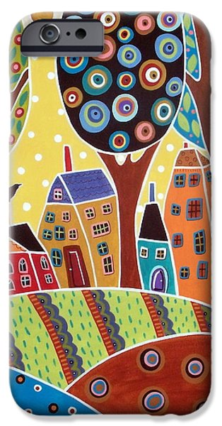 Garden Scene Paintings iPhone Cases - Houses Barn Landscape iPhone Case by Karla Gerard