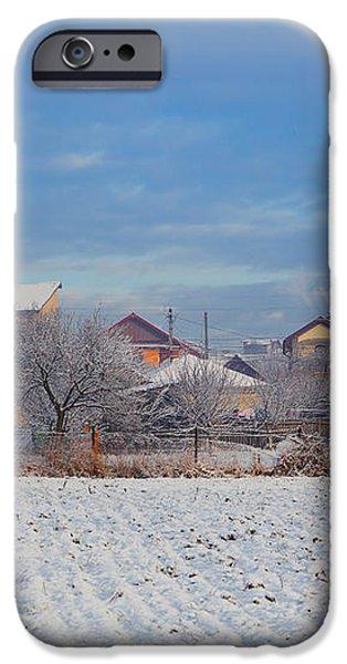 Houses in winter iPhone Case by Gabriela Insuratelu