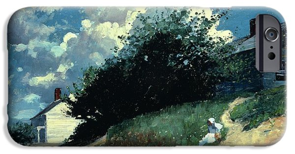 1879 iPhone Cases - Houses on a Hill iPhone Case by Winslow Homer