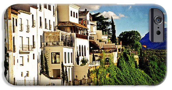 White House Digital iPhone Cases - Houses on the Cliff in Ronda Spain iPhone Case by Mary Machare