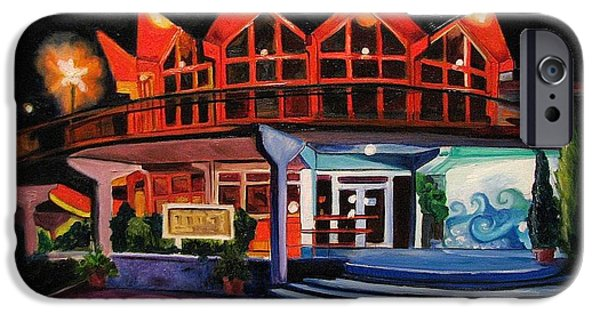 Asbury Park Paintings iPhone Cases - Howard Johnsons at Night iPhone Case by Patricia Arroyo