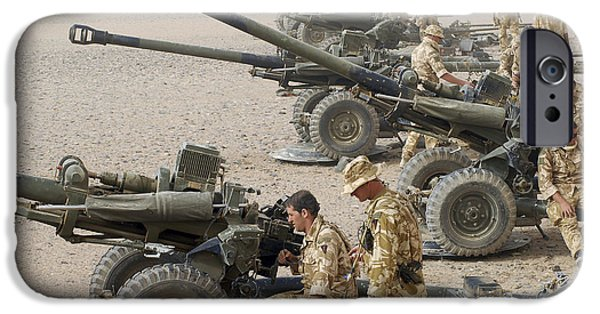 Best Sellers -  - Soldier Field iPhone Cases - Howitzer 105mm Light Guns Are Lined iPhone Case by Andrew Chittock