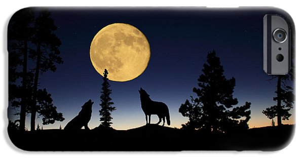 Pines Mixed Media iPhone Cases - Howling at the Moon iPhone Case by Shane Bechler