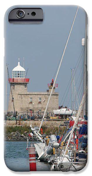 Sailboat Ocean iPhone Cases - Howth Lighthouse 0004 iPhone Case by Carol Ann Thomas