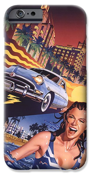 Airbrush Drawings iPhone Cases - Hudson Hornet on Miami Nights iPhone Case by Garth Glazier