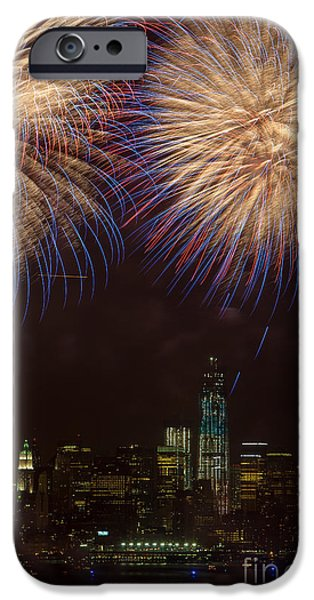 July 4th iPhone Cases - Hudson River Fireworks XI iPhone Case by Clarence Holmes