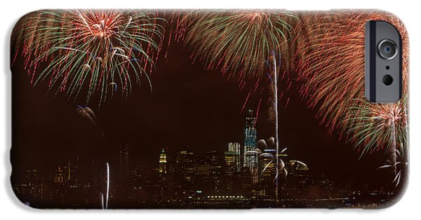 July 4th iPhone Cases - Hudson River Fireworks XII iPhone Case by Clarence Holmes