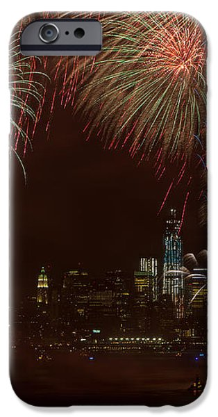 Hudson River Fireworks XII iPhone Case by Clarence Holmes