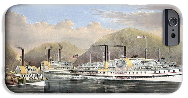 1874 iPhone Cases - Hudson River Steamships iPhone Case by Granger