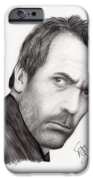 House Md iPhone Cases - Hugh Laurie iPhone Case by Rosalinda Markle