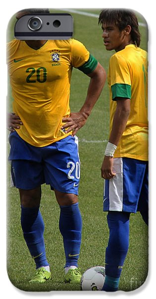 Clash Of Worlds iPhone Cases - Hulk and Neymar Ready for the Shot iPhone Case by Lee Dos Santos