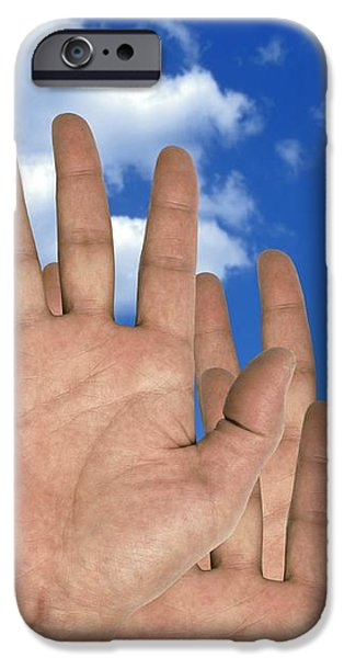 Human Hands And The Sky, Conceptual Image iPhone Case by Victor De Schwanberg