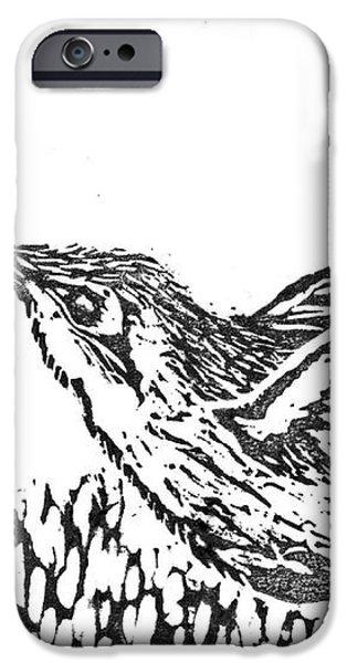 Hummingbird  block print iPhone Case by Ellen Miffitt