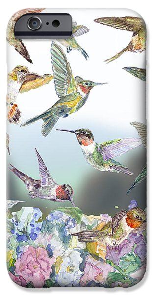 Recently Sold -  - Floral Digital Art Digital Art iPhone Cases - Hummingbirds Galore iPhone Case by Barry Jones