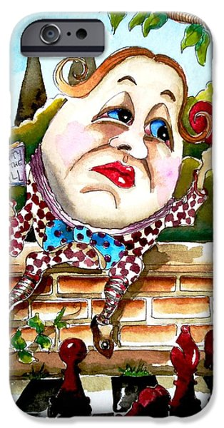Alice In Wonderland Paintings iPhone Cases - Humpty Dumpty iPhone Case by Lucia Stewart