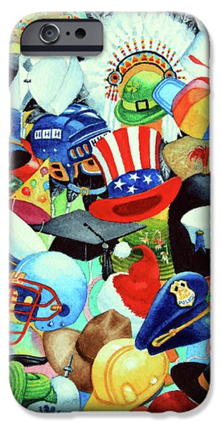 Quaker Paintings iPhone Cases - Hundreds of Hats iPhone Case by Hanne Lore Koehler