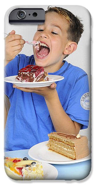 Hungry boy eating lot of cake iPhone Case by Matthias Hauser