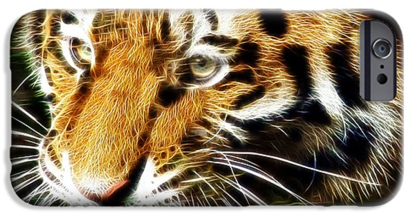 Tiger Fractal iPhone Cases - Hungry Tiger iPhone Case by Darleen Stry