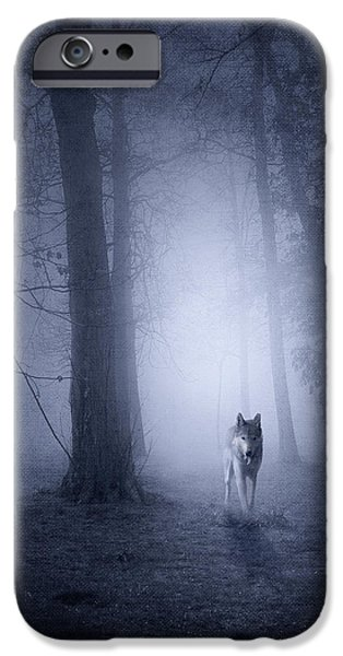 Recently Sold -  - Fog Mist iPhone Cases - Hunting Wolf iPhone Case by Svetlana Sewell