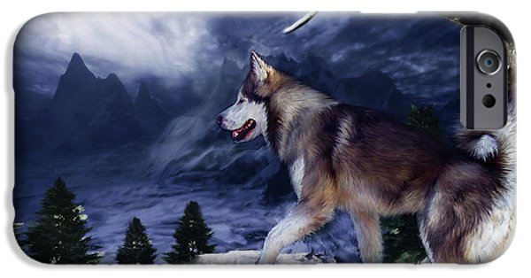 Husky Mixed Media iPhone Cases - Husky - Mountain Spirit iPhone Case by Carol Cavalaris