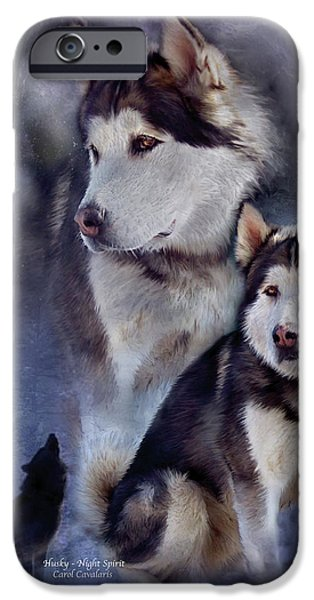 Husky Mixed Media iPhone Cases - Husky - Night Spirit iPhone Case by Carol Cavalaris