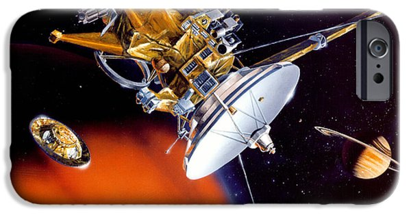 Outer Space Drawings iPhone Cases - Huygens Probe Separating iPhone Case by NASA and Photo Researchers
