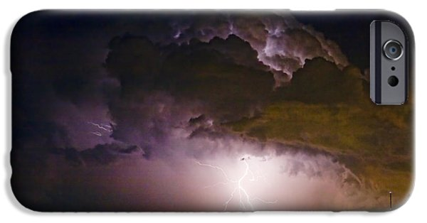 Striking Photography iPhone Cases - HWY 52 - 08-15-2010 Lightning Storm Image 42 iPhone Case by James BO  Insogna