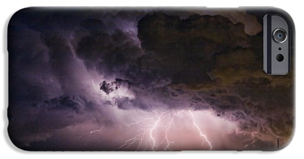 The Lightning Man iPhone Cases - HWY 52 - HWY 287 Lightning Storm Image 29 iPhone Case by James BO  Insogna