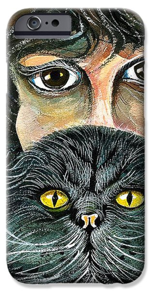 Beautiful Cat Drawings iPhone Cases - Hypnotic Cat Eyes iPhone Case by Ion vincent DAnu