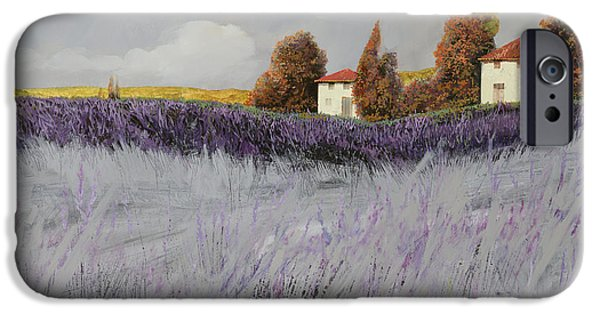 House Paintings iPhone Cases - I Campi Di Lavanda iPhone Case by Guido Borelli