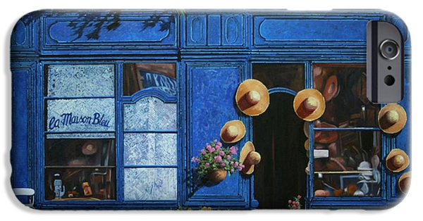 Street Scene Paintings iPhone Cases - I Cappelli Gialli iPhone Case by Guido Borelli