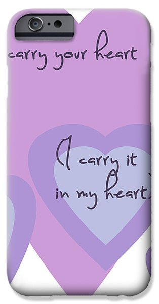 i carry your heart i carry it in my heart - lilac purples iPhone Case by Nomad Art And  Design